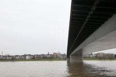 Bridge and river in Dusseldorf Stock Photos