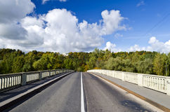 Bridge through river Gauja in Sigulda, Latvia Stock Photo