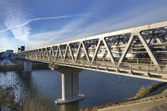 Bridge through the river for a high-speed train Royalty Free Stock Photo