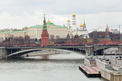 Bridge on River and Kremlin in Moscow in autumn Royalty Free Stock Images