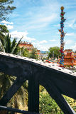 The Bridge on the River Kwai and a buddhist temple, Kanchanaburi Stock Photography