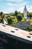 The Bridge on the River Kwai and a buddhist temple, Kanchanaburi Royalty Free Stock Photos