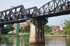 Bridge of the River Kwai is known as the Death Railway. Bridge of the River Kwai. Internationally famous, black iron bridge was built from by Japanese stock photo