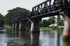 Bridge on river kwai. Rail way bridge on river kwai stock photos