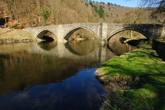 Bridge and river landscape in Bouillon Royalty Free Stock Images