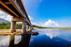 Bridge. When river meets the sea Stock Image