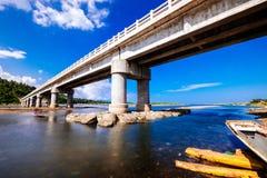 Bridge. When river meets the sea Stock Images