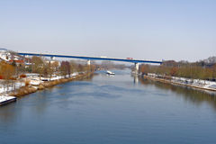 Bridge on the river mosel. Highway bord germany and luxembourg bei schengen Royalty Free Stock Images