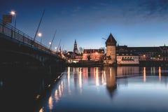 Bridge and river at night Royalty Free Stock Photo