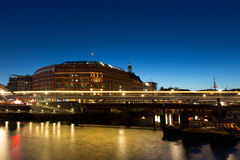 Bridge on the river in the night Hamburg Stock Image