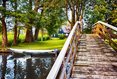 Bridge and river in old dutch village Royalty Free Stock Images