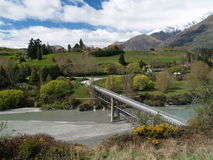 Bridge and river. Bridge over Shotover river, New Zealand Stock Photos