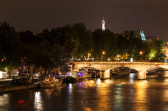 Bridge on the River Seine at night Royalty Free Stock Images