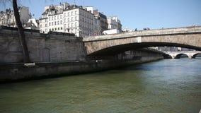 Bridge at river Seine in Paris, France stock video footage