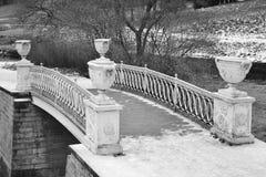 The bridge through the river the Slav in Pavlovsk park. Stock Photo