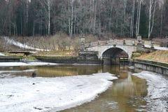 The bridge through the river the Slav in Pavlovsk park Royalty Free Stock Images