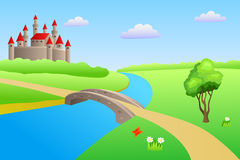 Bridge river summer landscape day castle illustration Royalty Free Stock Photo