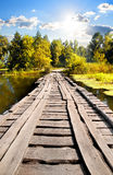 Bridge through river. In sunny autumn day Royalty Free Stock Image
