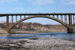 Bridge on the river Tigris. East Turkey, town Hasankeyf, river Tigris royalty free stock images