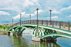 Bridge and river in Tsaritsino Park, Moscow Stock Image