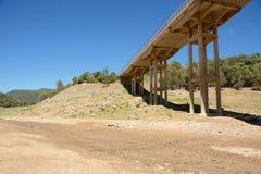 Bridge upon river. View of dry lake Stock Images