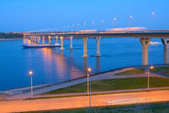 Bridge on the River Volga Stock Photo