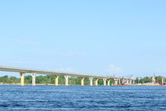 Bridge on the river Volga, Russia Stock Photo