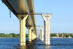 Bridge on the river Volga, Russia Royalty Free Stock Photography