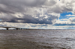 The bridge through the river Volga and the sky with clouds Royalty Free Stock Photography