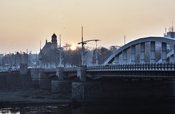 Bridge on the River Warta. In Poznan at sunrise Royalty Free Stock Photography
