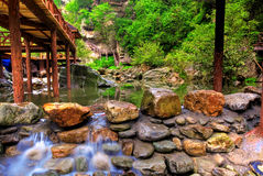 Bridge and river in Wudang Stock Photo