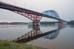 The bridge through the river Yenisei. Siberia Royalty Free Stock Photos