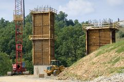 Bridge, road construction work. Bridge and Road construction work in a new development in a boomtown. Morgantown, West Virginia Stock Photos