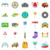Bridge road icons set, cartoon style. Bridge road icons set. Cartoon set of 25 bridge road vector icons for web  on white background Royalty Free Stock Image