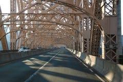 On the bridge. Road through metal bridge tunnel Stock Photography