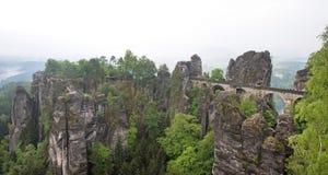 Bridge between rocks near Rathen, Germany, Europe Sachsische Sc. Hweiz royalty free stock photo