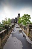 Bridge between rocks near Rathen, Germany, Europe Sachsische Sc. Hweiz stock image