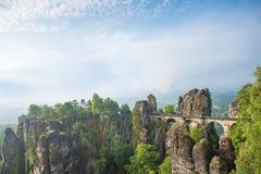 Bridge between rocks near Rathen, Germany, Europe Sachsische Sc. Hweiz royalty free stock image