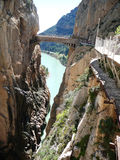 Bridge and Rockscape in gorge in El Chorro Royalty Free Stock Photo
