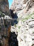 Bridge and Rockscape in gorge in El Chorro Royalty Free Stock Photo
