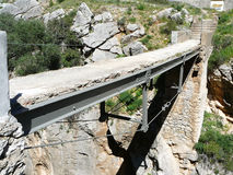 Bridge and Rockscape in gorge in El Chorro Stock Photography