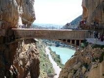 Bridge and Rockscape in gorge in El Chorro Stock Photos