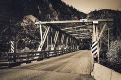 Bridge in Rocky Mountains, Canada stock image