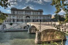 Bridge in Rome. HDR picture of bridge and government building in Rome Royalty Free Stock Image