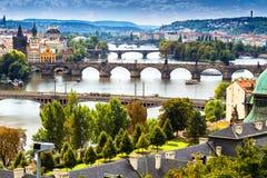 Bridge and rooftops of Prague Stock Photos