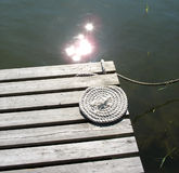 Bridge with rope. In the summer sun Stock Image