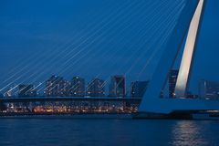 Bridge of Rotterdam at Night, the Netherlands Stock Photo