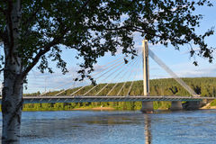 Bridge in Rovaniemi, day, summer, blue sky and clouds Royalty Free Stock Photography