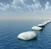 Bridge. Row of stones on water - 3d illustration Royalty Free Stock Photo