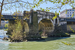 Bridge with ruins Royalty Free Stock Photo